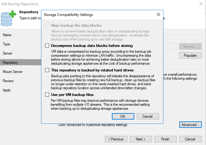 """If """"Align backup file data blocks"""" is greyed out, then its a ReFS 3.1 repository"""